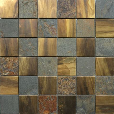Stone and copper mosaic metal wall tiles   Tiles & Pavers