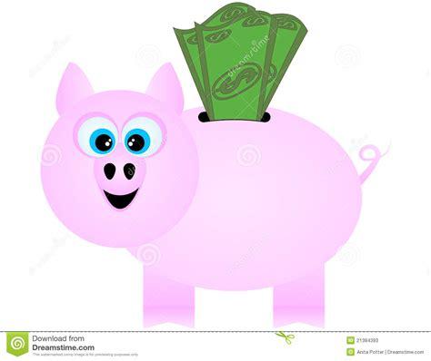a happy piggy bank receiving dollar bills stock photos