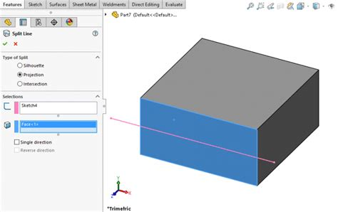 Line Slit how to use the solidworks split line tool