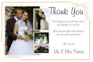 wedding thank you cards exles 50 personalised wedding thankyou thank you photo cards