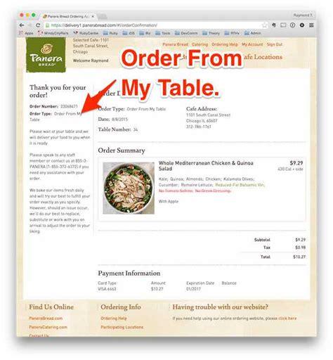 Panera Group Order Order Table