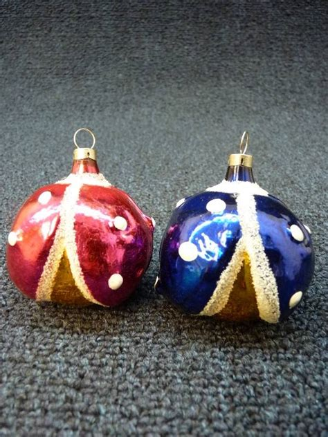 2 vintage blown glass lady bug christmas tree ornaments o425