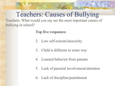 Bullying Causes by Teachers Causes Of Bullying
