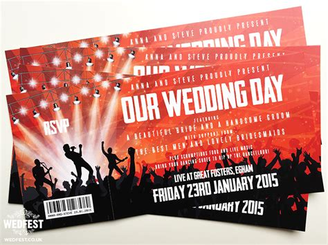 wedding invitations like concert tickets concert themed wedding wedfest