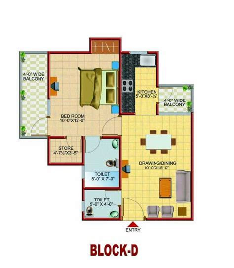 how big is 650 square feet 1 bhk 650 sq ft floor plan