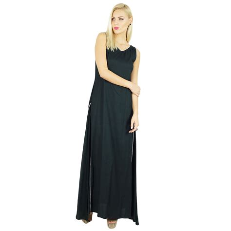 bimba dress rayon black maxi gown bohemian