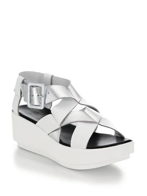 white and silver sandals robert clergerie metallic leather zig zag platform sandals