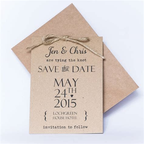 tying the knot save the date card by phil rao studio two