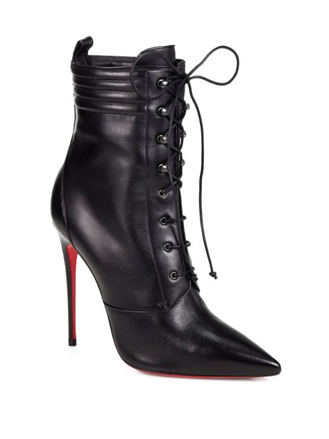 christian louboutin mado leather lace up ankle boots in