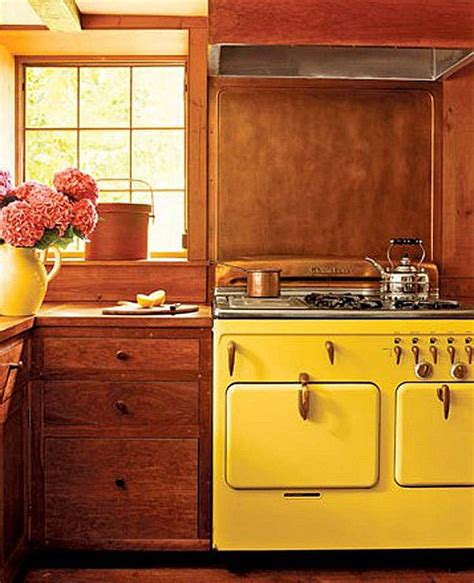 yellow vintage kitchen orange wood kitchen with yellow vintage appliances decoist