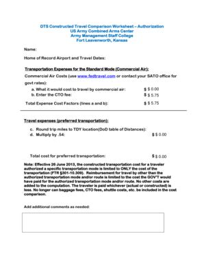 Constructed Travel Worksheet
