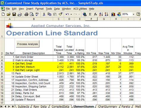 time motion study excel template standard data libraries