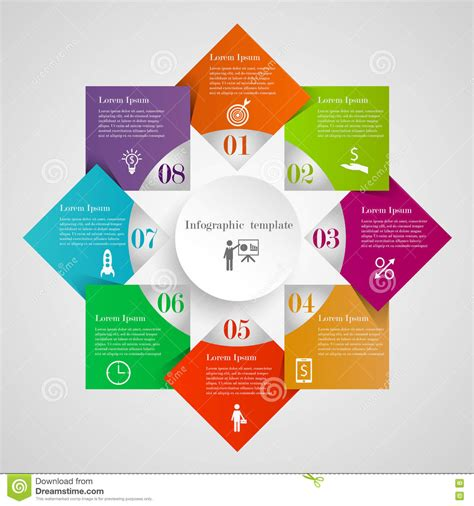 graphic flow chart infographic circle flowchart template stock vector image