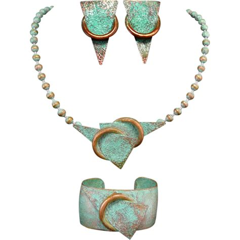 from jewelry mid century beautiful copper patina jewelry set from