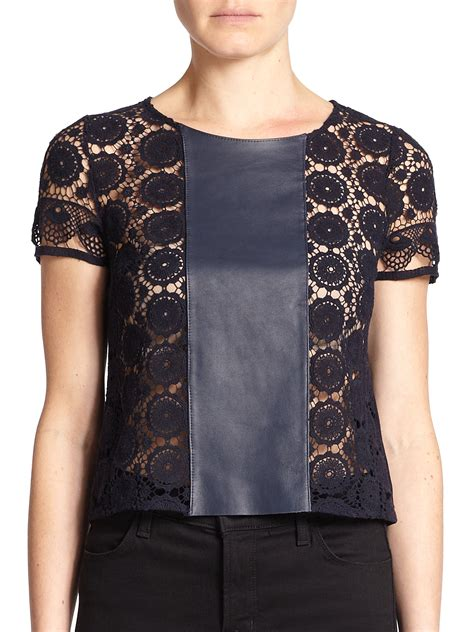 Bolly Top Navy 44 lyst bailey 44 turner leather lace top in blue