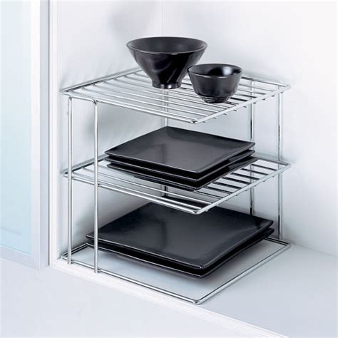 3 tier cabinet organizer three tier chrome corner shelf in cabinet shelves