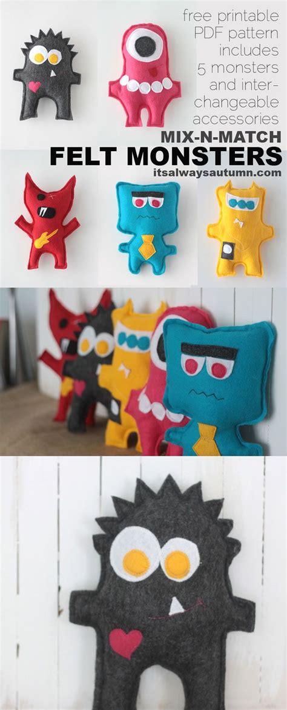 felt pattern tutorial free easy sewing pattern for felt monster dolls felt