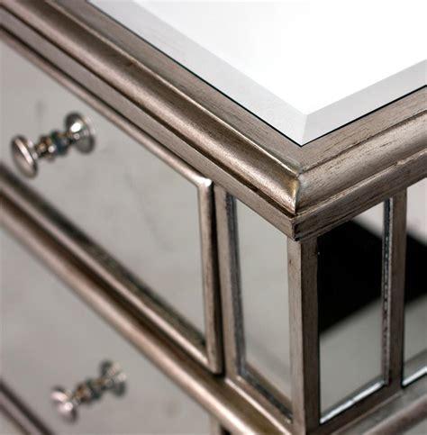 Wood And Mirrored Dresser by Harlowe Regency Silver Pewter Wood Mirrored