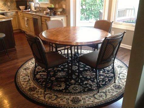 Rug Kitchen Table by Need Help On What Shape Rug To Put Kitchen
