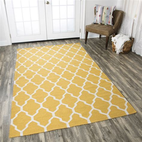 Quatrefoil Area Rug 8x10 Swing Quatrefoil Trellis Wool Area Rug In Yellow Gold White 8 X 10