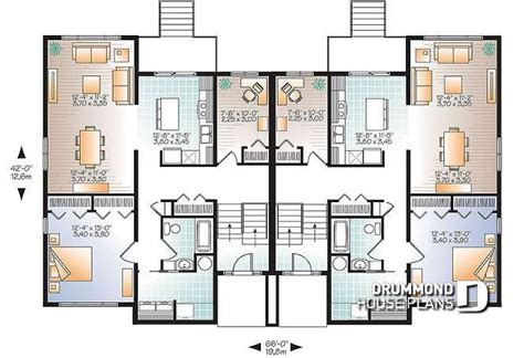 4 Bedroom Duplex Floor Plans by Multi Family Plan W3063 Detail From Drummondhouseplans