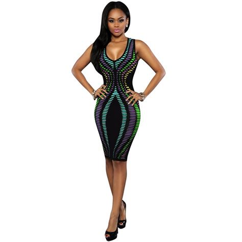 Lovely Printed Bodycon Dress 40079 black digital gradient printed bodycon dress