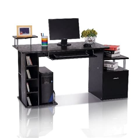 best buy computer desk homcom wood computer desk with drawer shelves black
