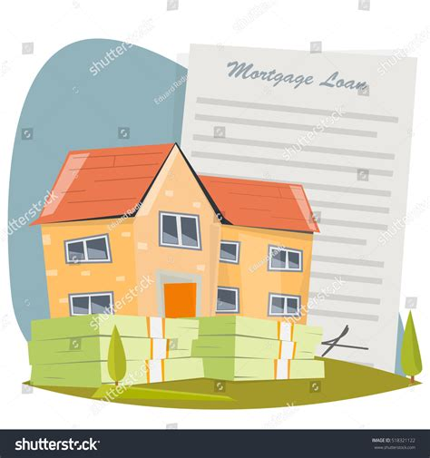 in house mortgage loans house with mortgage loan stock vector illustration