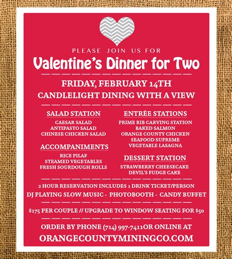 valentine s dinner for two tickets the orange county