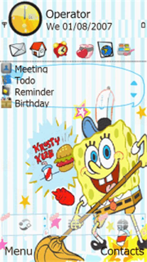 cartoons themes mobile download cleaning spongbob nokia theme mobile toones