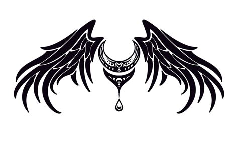 moon and wings tattoo design by sapphireiceangel on deviantart