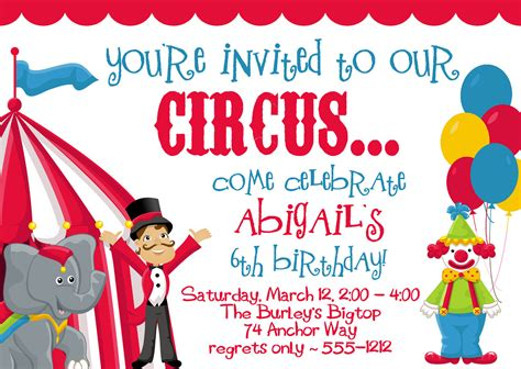 free printable circus party decorations circus carnival birthday party invitations by