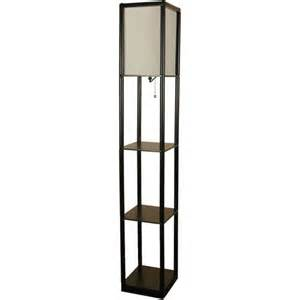 mainstays black shelf floor l with white shade on