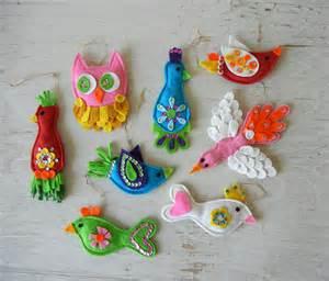 vintage christmas ornaments handmade birds felt by
