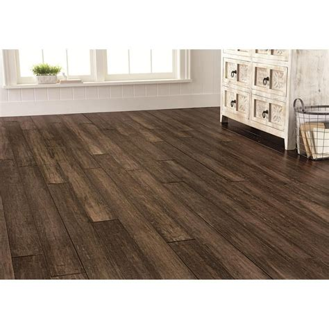 Home Decorators Collection Flooring Handscraped Strand Woven Pecan 3 8 In T X 5 1 8 In W X 72 7 8 In L Click Engineered Bamboo
