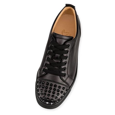 Flat Black Leather christian louboutin louis junior spikes flat black