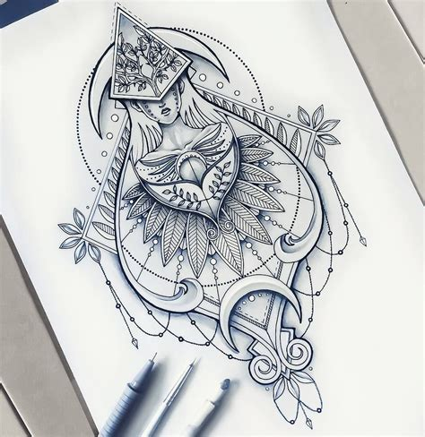 detailed tattoo designs geometrical drawing detailed illustration saphiriart on