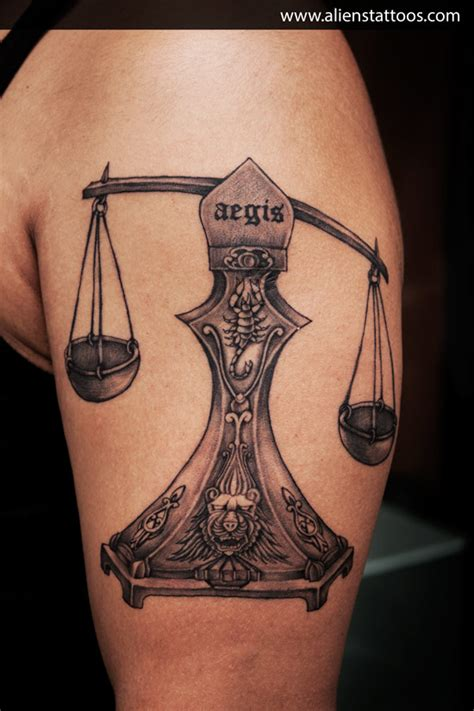 libra scales tattoo designs libra designed and inked by at aliens