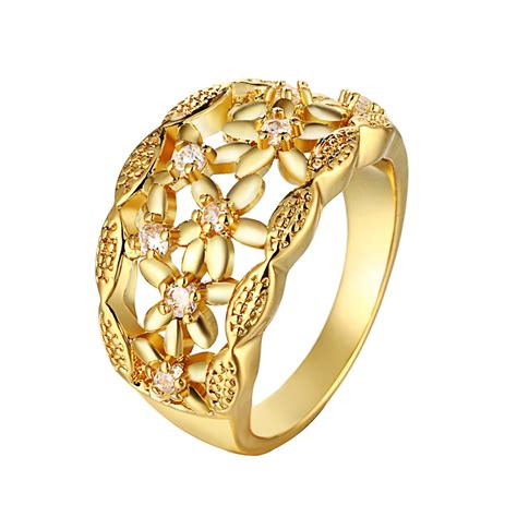 gold ring with floral design