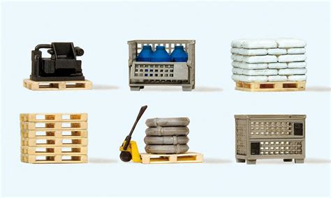 Preiser 10578 Delivery With Loads preiser 17704 pallets with loads pack of 6 oo ho scale model scenery