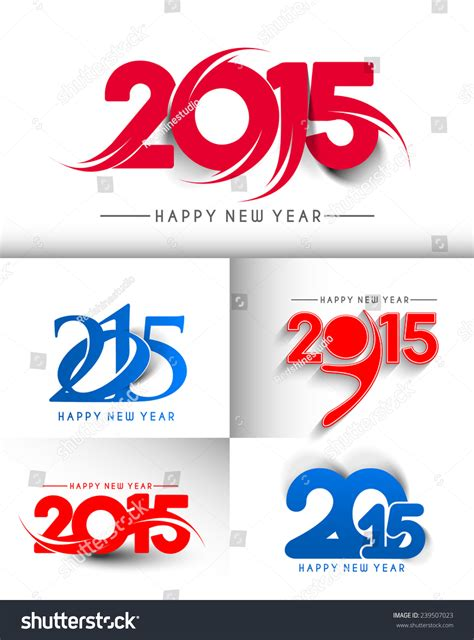 new year set design set of new year 2015 text design stock vector illustration