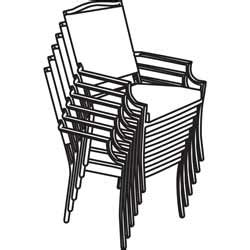 White Patio Chair Stacking Chairs Clipart 13