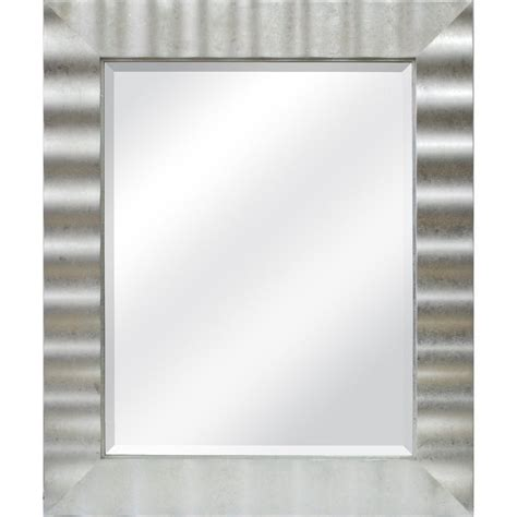 silver bathroom mirror rectangular allen roth 30 5 in x 36 5 in silver leaf rectangle