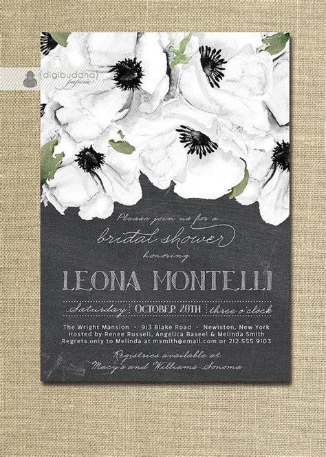 printable black and white bridal shower invitations chalkboard floral bridal shower invitation black white