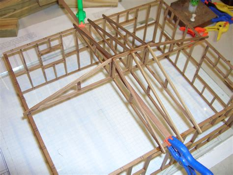 Installing Hip Roof Trusses smith pond junction railroad lake cabin kit assembly tips and photos