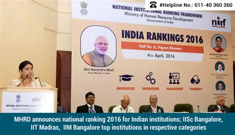Mhrd Ranking Of Mba Colleges by Mhrd Rankings 2016 Top Engineering Colleges In India