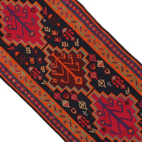Boho Rugs For Sale by Vintage Flatweave Kilim Runner With Tribal Style