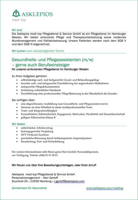 Bewerbung Ambulanter Pflegedienst Stellenangebot Kph 180 S Und Gpa 180 S F 252 R Den Westen Hamburg In