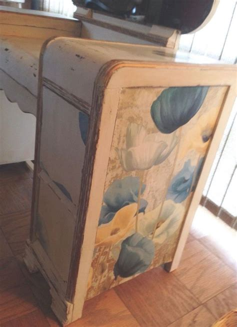 decoupage laminate furniture painted and decoupaged vintage veneer vanity hometalk