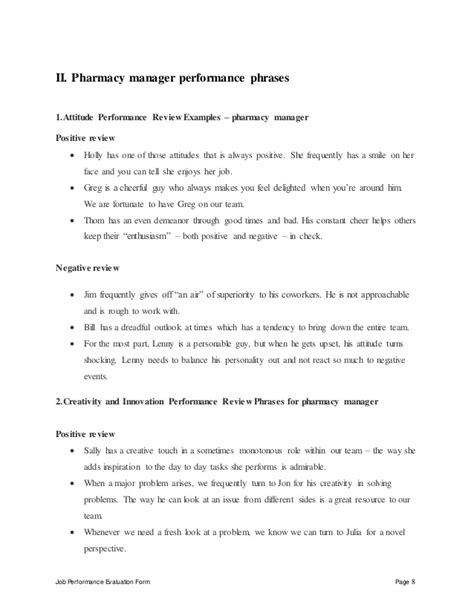 Pharmacy Manager Description by Pharmacy Manager Performance Appraisal